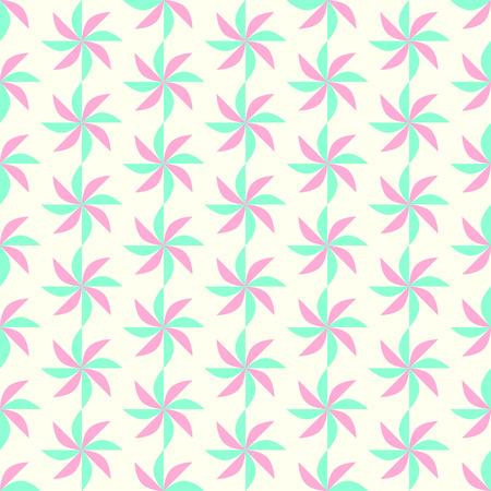 vane: Green and Red propeller pattern on pastel color. Vane seamless pattern for modern or retro design Illustration