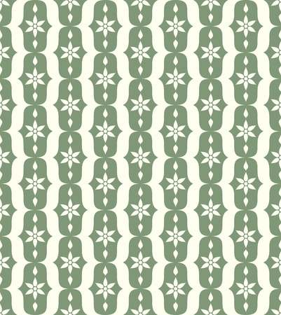 lobe: Green vintage blossom and lobe pattern on pastel background. Retro bloom seamless pattern for ancient or old design Illustration