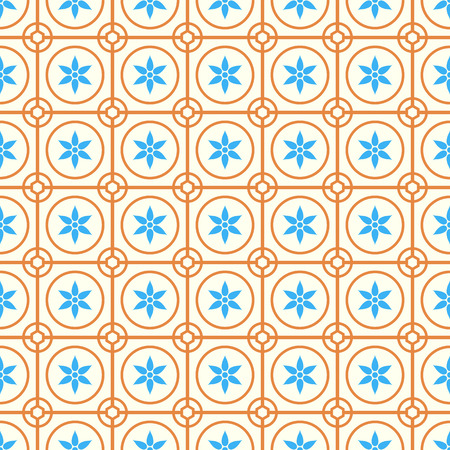 Orange Vintage blossom and circle and hexagon and rectangle seamless pattern on pastel background. Retro and classic symmetry style for old or modern design.
