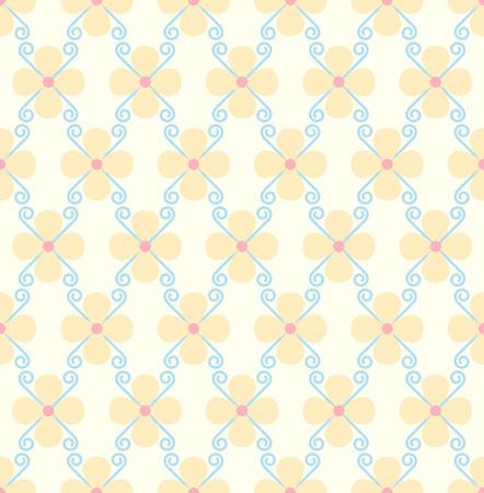 to bloom: Orange blossom and spiral seamless pattern on pastel background. Sweet bloom for vintage or modern design. Illustration
