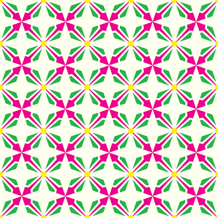 Pink and green abstract arrow and circle in rectangle shape seamless pattern. Modern pattern for graphic or abstract design. Vector