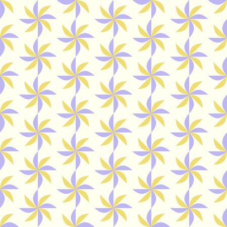 vane: Violet and Yellow propeller pattern on pastel color. Vane seamless pattern for modern or retro design Illustration