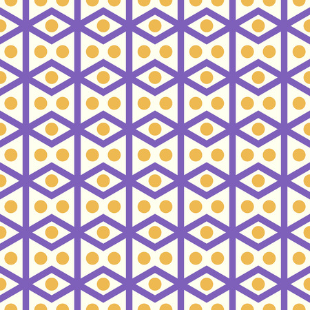 parallelogram: Violet rhombohedron or parallelogram pattern on pastel background. Retro rhomboid and circle seamless pattern style for classic or modern design