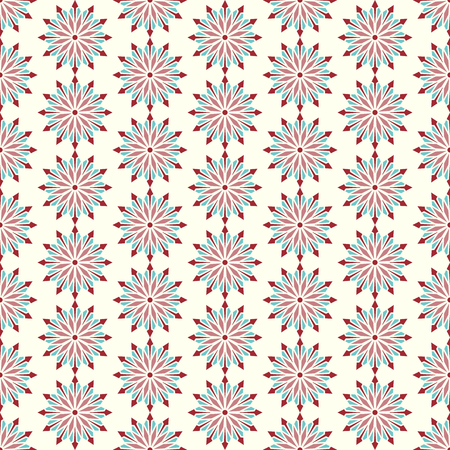 modish: Red modern flower and arrow and rhomboid shape seamless pattern. Graphic bloom pattern for fashionable or classic design