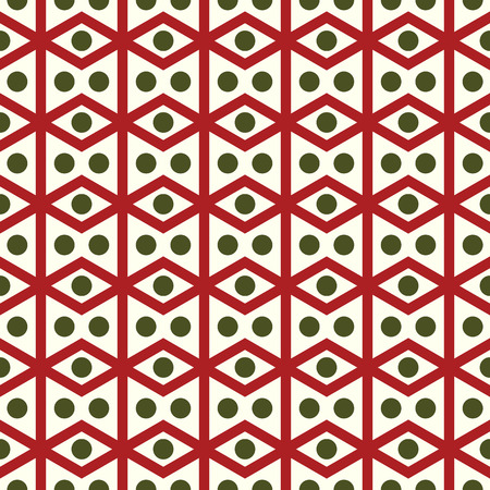 parallelogram: Red rhombohedron or parallelogram pattern on pastel background. Retro rhomboid and circle seamless pattern style for classic or modern design