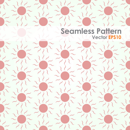 modish: Red Sun shape seamless pattern on pastel color. Circle and swirl in sweet style for abstract or graphic design