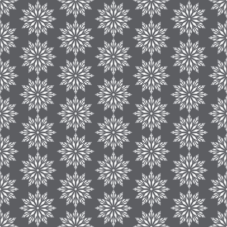 modish: Silver modern flower and arrow and rhomboid shape seamless pattern. Graphic bloom pattern for fashionable or classic design