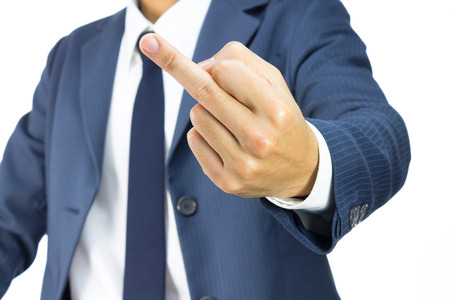 malcontent: Businessman in Blue Suit Show Middle Finger or Fuck You Sign Isolated on White Background. Concept About Angry or Furious