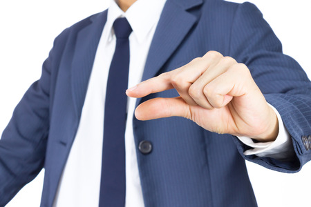 Businessman in Blue Suit Show Pinch Hand Gesture Isolated on White Background. Concept about Small or Little Things photo