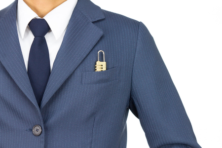 Businessman in Blue Suit With Combination Lock in Pocket on Straight View Isolated on White Background. Concept about Security or Safety. photo