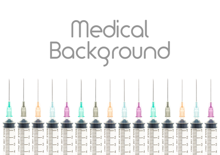 medical device: Five color needle or medical device isolated on white background at bottom horizontal view. Medical background for hospital or clinic or health design. Stock Photo