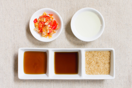 vegetable oil: Ingredient or seasoning of Thai food. Soy and oyster and vegetable oil and Granulated brown sugar and chili and garlic.