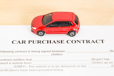 Car Purchase Contract With Red Car On Left View Auto Purchase
