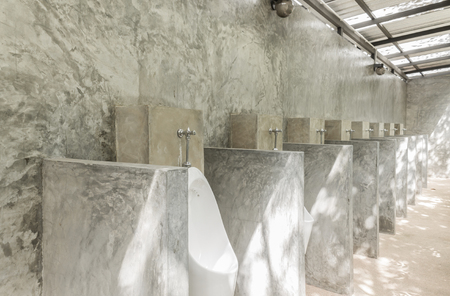 White Urinal Men With Concrete Wall Loft Style For Interior Design Extraordinary Basement Wall Design Exterior