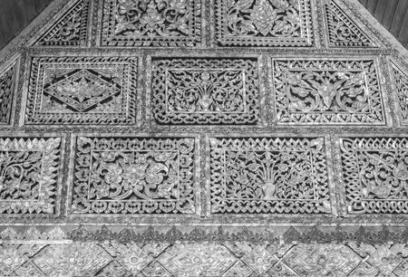 Black and White Thai Stencil Slat Background. Stencil plank wood texture for design