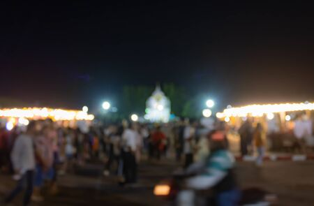 Blurred Crowd Walking in Loi Krathong Festival at Phayao Thailand