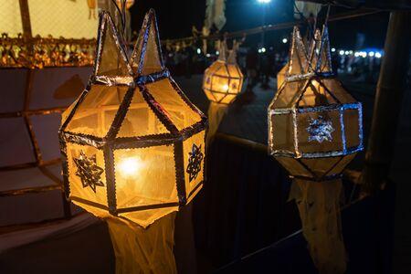 Yellow paper lanterns in Loi Krathong festival. Lanterns contest in Loi Krathong festival at Phayao Thailand Banco de Imagens