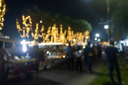 Blurred Lights and Blurred People in Loi Krathong Festival Thailand
