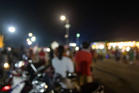 Blurred People or Crowd and Blurred Motorcycle and in Loi Krathong Festival at Phayao Thailand Banco de Imagens