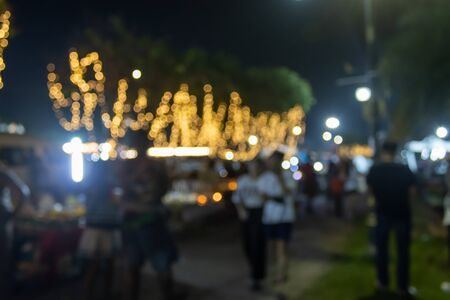 Blurred Lights and Blurred People at Roadside in Loi Krathong Festival Thailand