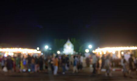 Blurred Crowd or People Walking in Loi Krathong Festival at Phayao Thailand Banco de Imagens
