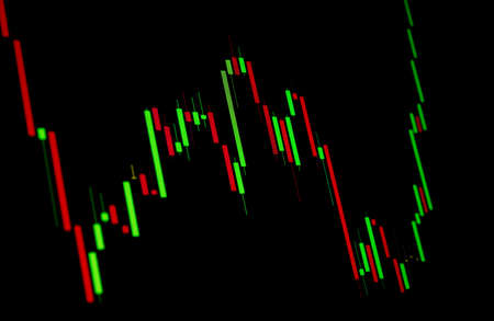Tilted Red and Green Stock Chart or Forex Chart on Black Background