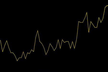 Continuous Uptrend Yellow Stock Chart or Forex Chart on Black Background