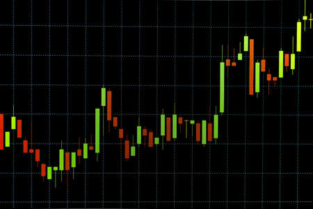 Continuous Uptrend Red and Green Stock Chart or Forex Chart and Table Line on Black Background