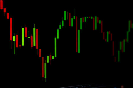 Trend Changing Position of Stock Chart or Forex Chart on Black Background Banco de Imagens