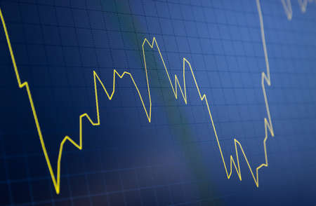 Tilted Yellow Stock Chart or Forex Chart and Table Line on Black Background on Unstable Trend