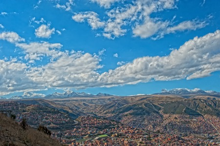 la paz: La Paz - capital laying in a valley between big mountains Stock Photo
