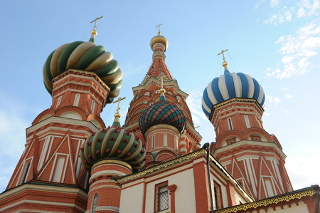 View at the colorful Basilius Cathedral near Red Square in Moscow
