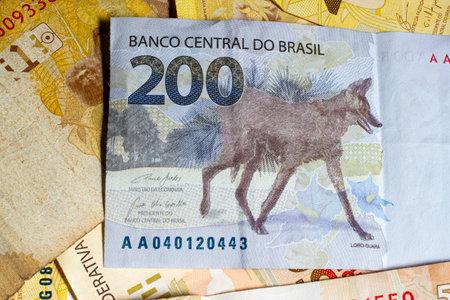 Brazilian money bill. Detail of Two hundred bill. Top view. Zdjęcie Seryjne