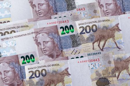 Brazilian money bill. Many two hundred bill. Top view.