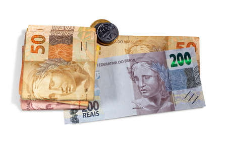 Brazilian money bill and coins. Two hundred bill, ten, twenty, and fifty real bill.