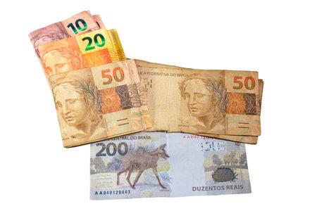 Brazilian money bill. Two hundred bill, ten, twenty, and fifty real bill. Top view Zdjęcie Seryjne