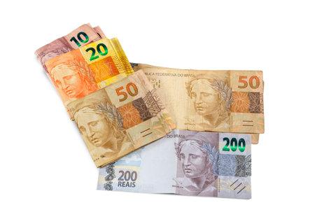 Brazilian money bill. Two hundred bill, ten, twenty, and fifty real bill. Top view.