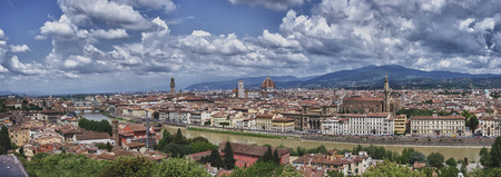 evoking: florence palace view with old cathedral old bridge