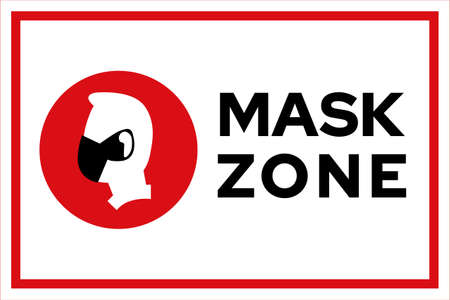 Mask zone warning prevention sign - human profile silhouette with face mask in white square frame - isolated vector information picture