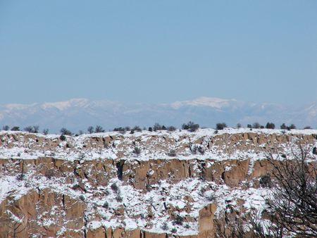 rock strata: Taos Beckens Stock Photo