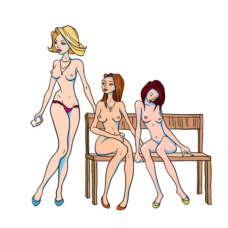 Vector illustration of three nude girls