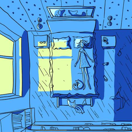 sehnsucht: Illustration einer Frau schlafend auf dem Bett Illustration