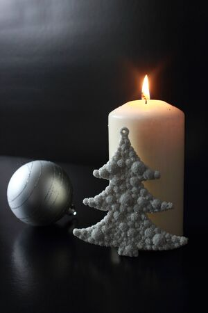 sentiment: White Christmas candle Stock Photo