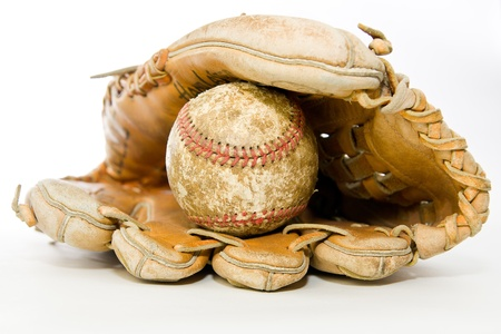 hardball: Old baseball glove and baseball