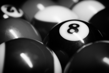 billiard balls: A Vintage style photo from a billiard balls in a pool table  Noise added for a film effect Stock Photo