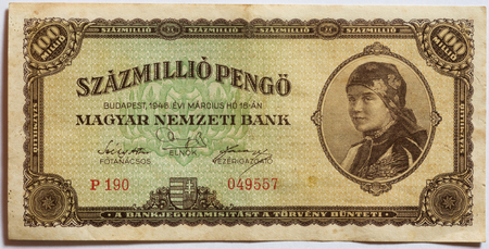 valid: In Hungary between 1945-1946 was the world s biggest HyperInflation in history , this bank note is derived from this period, this bank note is not valid any more