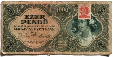 In Hungary between 1945-1946 was the world s biggest HyperInflation in history , this bank note is derived from this period, this bank note is not valid any more  Stock Photo - 23003537