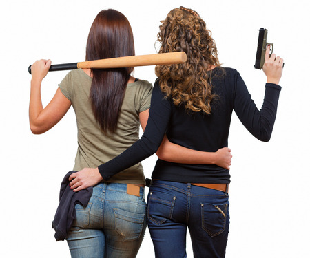 women jeans: Two young women after robbery Stock Photo
