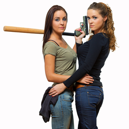 sexy girls with weapons photo