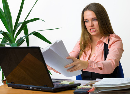 Beautiful young women is overworked photo